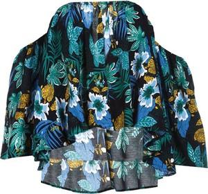 Granatowa bluzka Multu z dekoltem w kształcie litery v