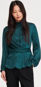 Bluzka Reserved z okrągłym dekoltem z żakardu z długim rękawem