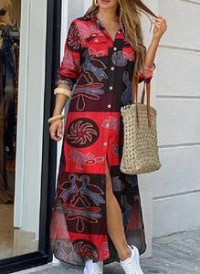 Sukienka Sandbella z długim rękawem koszulowa maxi