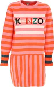 Różowa sukienka dziewczęca Kenzo z bawełny w paseczki