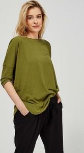 Zielona bluzka Moodo z okrągłym dekoltem z długim rękawem