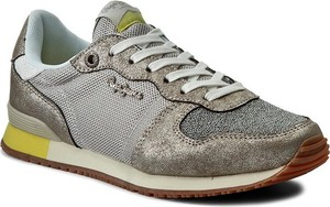 Złote buty sportowe Pepe Jeans z płaską podeszwą