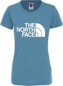 Niebieska bluzka The North Face w sportowym stylu z krótkim rękawem