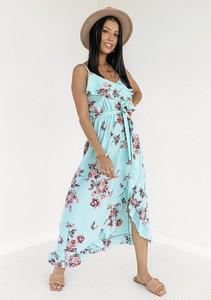 Sukienka Latika maxi z dekoltem w kształcie litery v asymetryczna