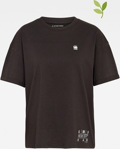 Czarna bluzka G-star z bawełny z okrągłym dekoltem z krótkim rękawem