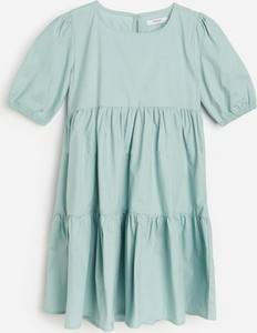 Miętowa sukienka dziewczęca Reserved z bawełny