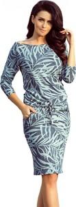 Niebieska sukienka NUMOCO w stylu casual midi z długim rękawem
