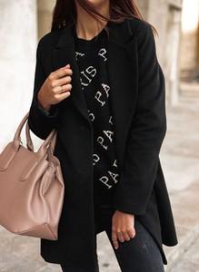 Czarny płaszcz Cikelly z wełny w stylu casual