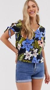 Granatowa bluzka Vero Moda z krótkim rękawem z lnu