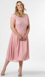 Różowa sukienka Swing Curve midi z krótkim rękawem
