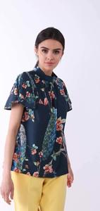 Granatowa bluzka Nommo z krótkim rękawem