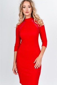 Czerwona sukienka Royalfashion.pl mini w stylu casual z długim rękawem