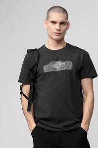 Czarny t-shirt 4F z dzianiny z nadrukiem z krótkim rękawem