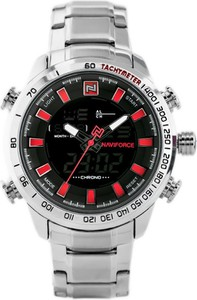 ZEGAREK MĘSKI NAVIFORCE - NF9093 (zn041b) - silver/red + BOX - Srebrny