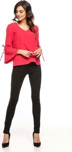 Czerwona bluzka Tessita z długim rękawem z dekoltem w kształcie litery v w stylu retro