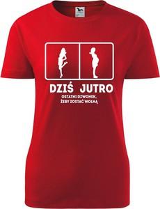 Czerwony t-shirt TopKoszulki.pl z bawełny z okrągłym dekoltem