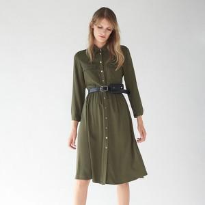 Zielona sukienka Mohito szmizjerka z kołnierzykiem z długim rękawem