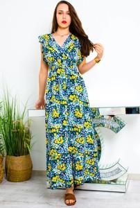 Sukienka Olika z dekoltem w kształcie litery v kopertowa z krótkim rękawem