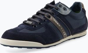 Niebieskie buty sportowe Boss Menswear Athleisure sznurowane ze skóry