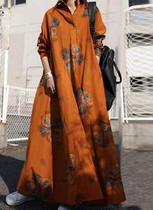 Pomarańczowa sukienka Arilook maxi z długim rękawem z dekoltem w kształcie litery v