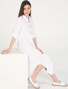 Sukienka Unisono z długim rękawem z lnu