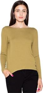 Zielona bluzka Venaton w stylu casual z okrągłym dekoltem