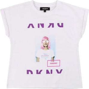 Bluzka dziecięca DKNY z bawełny dla dziewczynek z krótkim rękawem