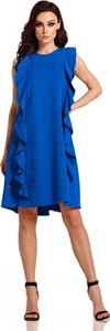 Niebieska sukienka Lemoniade midi z okrągłym dekoltem