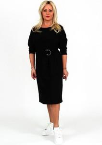 Czarna sukienka Roxana - sukienki w stylu casual midi z długim rękawem