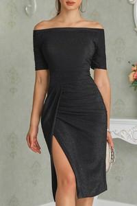 Sukienka Ivet.pl dopasowana z krótkim rękawem