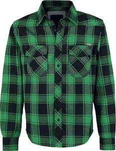 Zielona koszula Brandit z bawełny z długim rękawem