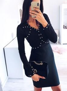 Granatowa sukienka Pakuten z długim rękawem w stylu casual