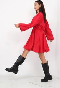 Sukienka Ptakmoda.com z długim rękawem w stylu casual z bawełny
