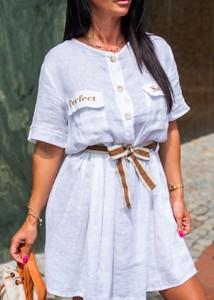 Niebieska sukienka Fason mini z krótkim rękawem