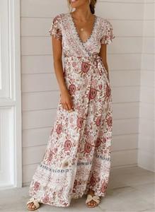 Sukienka Sandbella w stylu boho z dekoltem w kształcie litery v maxi