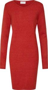 Czerwona sukienka Vila mini z dzianiny ołówkowa