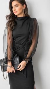 Czarna sukienka Cocomore z bawełny z długim rękawem ołówkowa