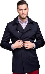 Czarny płaszcz męski giacomo conti z tkaniny
