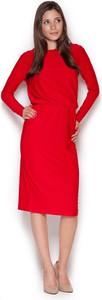 Czerwona sukienka Figl midi z długim rękawem