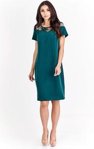 Zielona sukienka Fokus midi z tkaniny