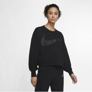 Czarny t-shirt Nike z okrągłym dekoltem z długim rękawem z bawełny