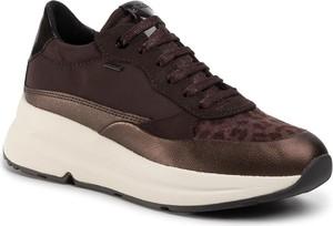 Brązowe buty sportowe Geox sznurowane z płaską podeszwą