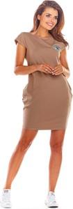 Brązowa sukienka Infinite You z nadrukiem mini z bawełny
