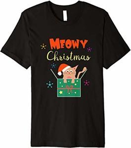 Bluzka Meowy Christmas Weihnachtskatze T-shirts Geschenk w młodzieżowym stylu w bożonarodzeniowy wzór z krótkim rękawem