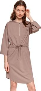 Sukienka Top Secret koszulowa z długim rękawem z okrągłym dekoltem