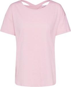 Różowa bluzka edc by Esprit z krótkim rękawem z okrągłym dekoltem