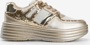 Złote buty sportowe Gemre.com.pl ze skóry sznurowane
