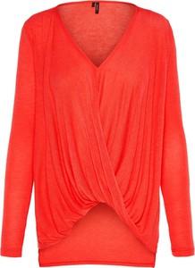Pomarańczowa bluzka Vero Moda z długim rękawem z dekoltem w kształcie litery v w stylu casual