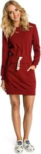 Czerwona sukienka MOE z długim rękawem w stylu casual z dresówki