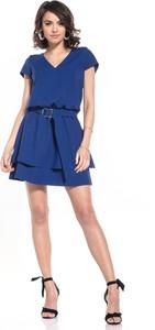 Niebieska sukienka Tessita mini z krótkim rękawem z dekoltem w kształcie litery v